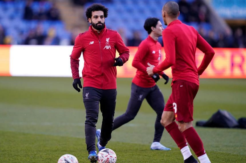 Liverpool's Mohamed Salah warm up before the FA Cup football match against Shrewsbury Town on Jan 26, 2020.