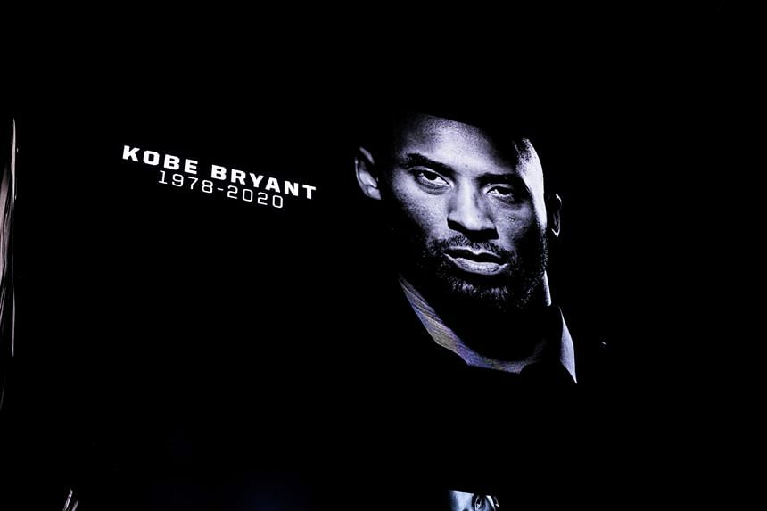 A tribute is shown on the video board during a moment of silence acknowledging Kobe Bryant before the game between the San Antonio Spurs and Toronto Raptors at the AT&T Center.