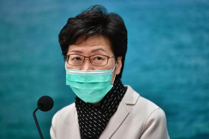 Hong Kong's Chief Executive Carrie Lam during a press conference in Hong Kong on Jan 28, 2020.