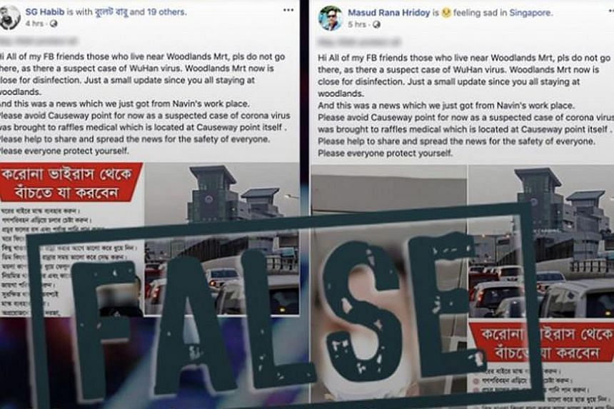 Two Facebook posts from different accounts falsely claimed that the Woodlands MRT station had to be shut down because of the virus. According to the writer, what was concerning was that in the absence of any update from the transport operator, fake n