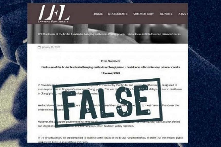 Malaysian rights group Lawyers for Liberty, which made allegations about executions at Changi Prison, was given a correction order under the Protection from Online Falsehoods and Manipulation Act that required it to post the facts next to the falseho