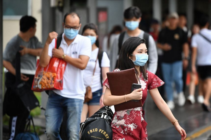 People wearing masks at Woodlands Checkpoint, on Jan 27, 2020.