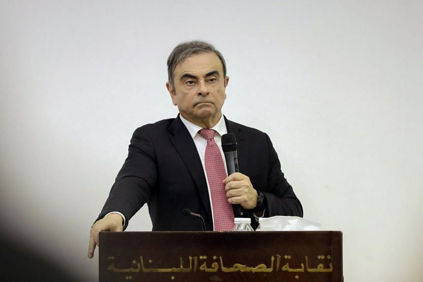 In a photo taken on Jan 8, former Renault-Nissan boss Carlos Ghosn addresses journalists during a press conference in Beirut.