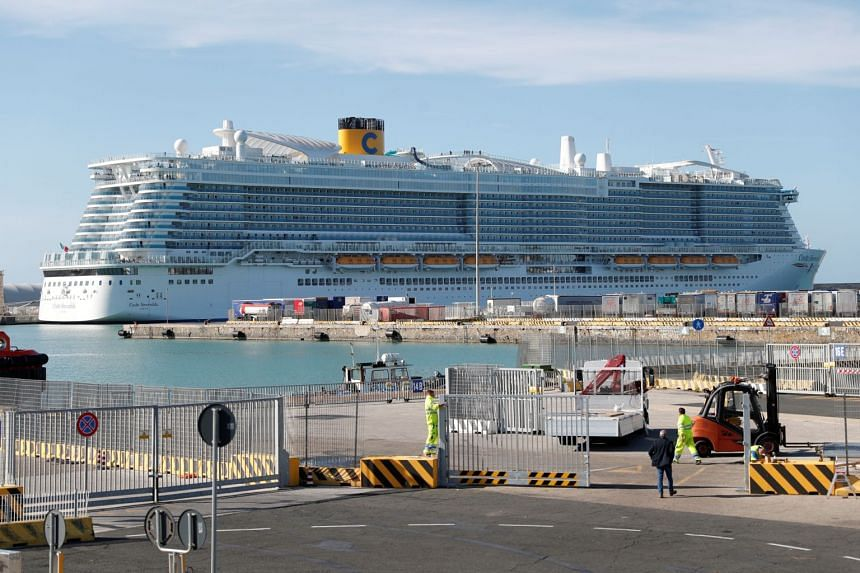 The Costa Smeralda cruise ship of Costa Crociere docked at the Italian port of Civitavecchia after a health alert due to a Chinese couple and a possible link to coronavirus on board in Civitavecchia, Italy, on Jan 30, 2020.