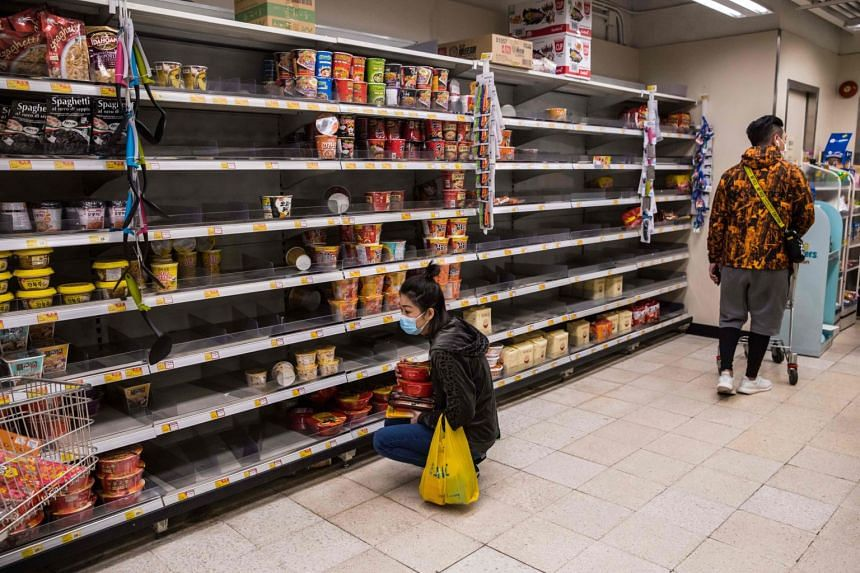 Concerns about the virus outbreak have prompted shoppers to sweep not just surgical masks off the shelves but also food items like instant noodles.