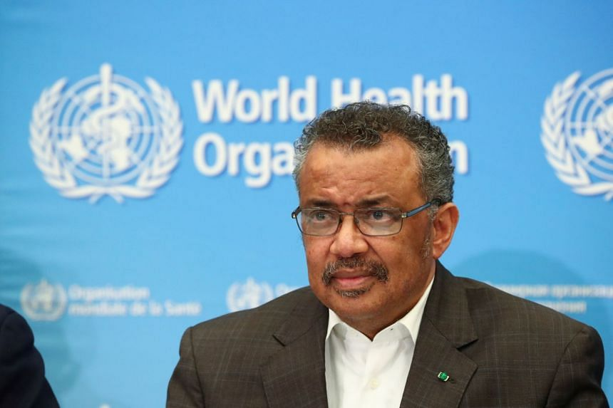 Director-General of the World Health Organisation Tedros Adhanom Ghebreyesus attends a news conference.