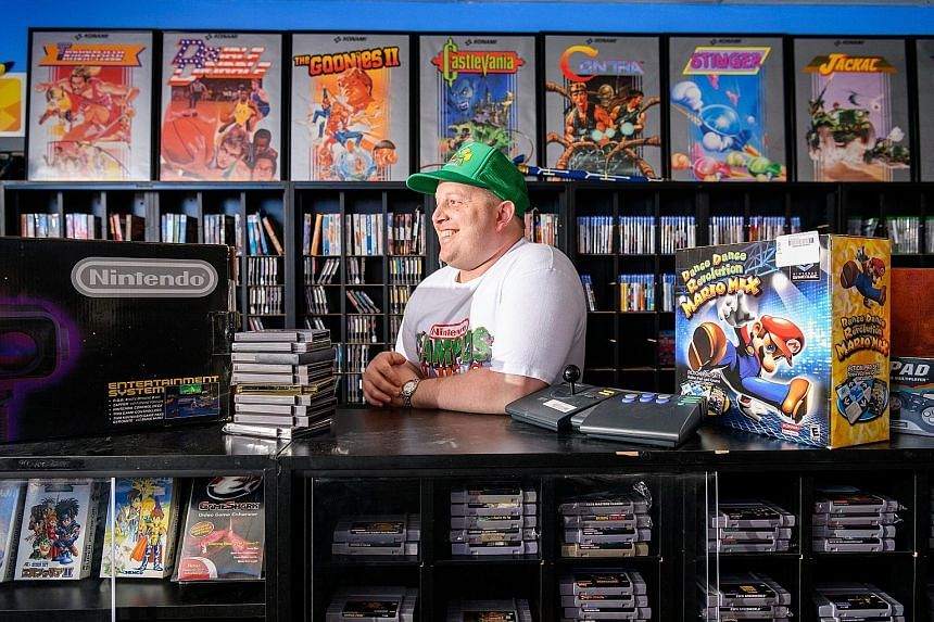 Owner Josh Hamblin at his SideQuest Games store in Portland, Oregon.