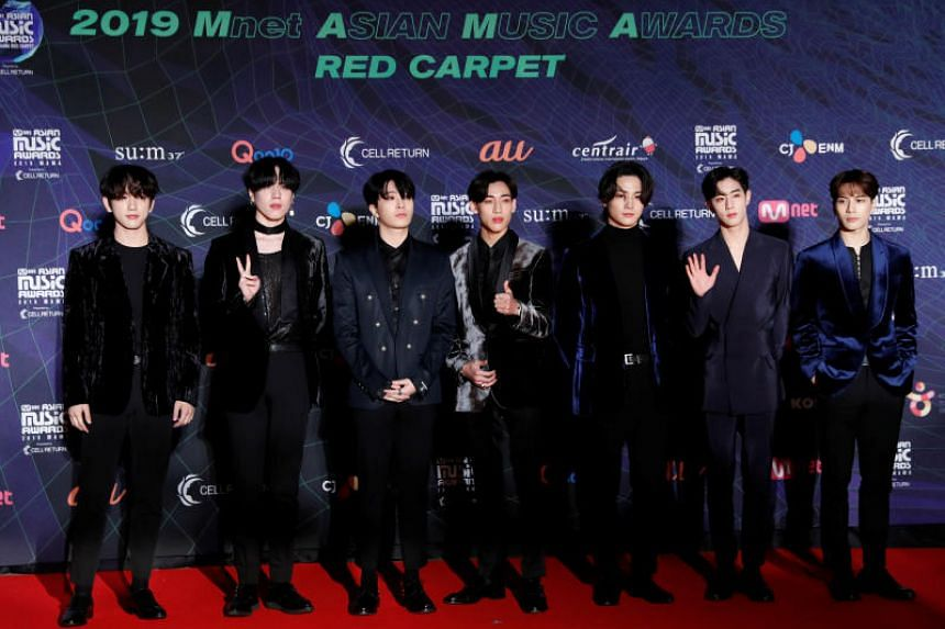 In a photo taken on Dec 4, 2019, members of South Korean boy band Got7 pose on the red carpet during the annual MAMA Awards at Nagoya Dome in Japan.