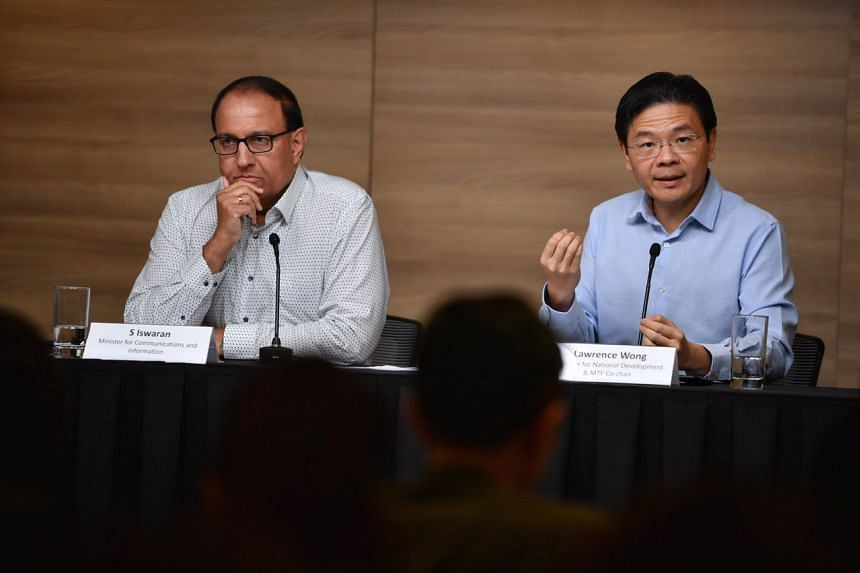 Minister for Communications and Information S. Iswaran and Minister for National Development Lawrence Wong during a press conference on Jan 31, 2020.