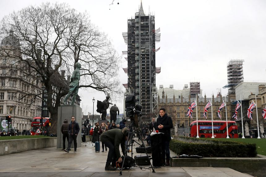 Members of the media set up on Parliament Square on Brexit day, in London, on Jan 31, 2020.