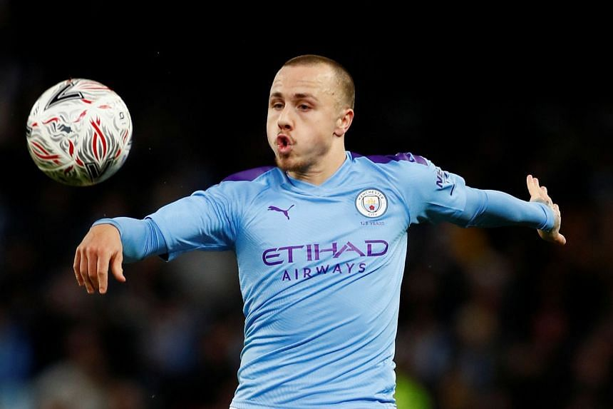 Manchester City's Angelino in action.