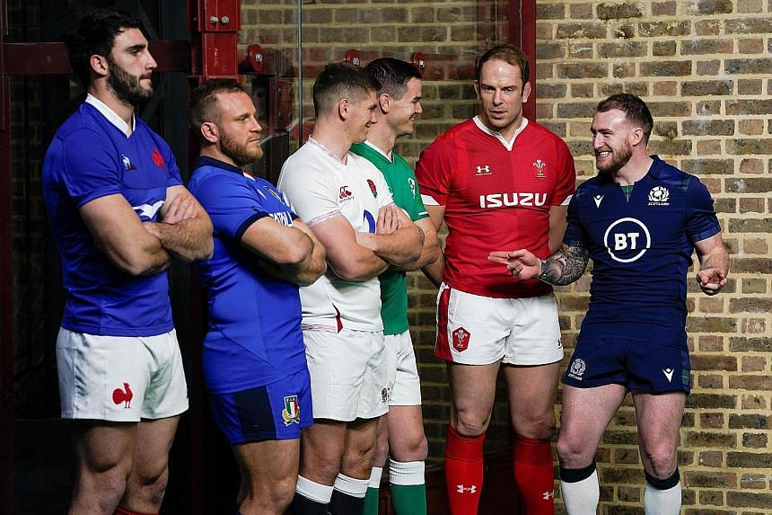 The captains at a Six Nations launch event last week - France's Charles Ollivon, Italy's Luca Bigi, England's Owen Farrell, Ireland's Jonathan Sexton, Wales' Alun Wyn Jones and Scotland's Stuart Hogg. PHOTO: AGENCE FRANCE-PRESSE