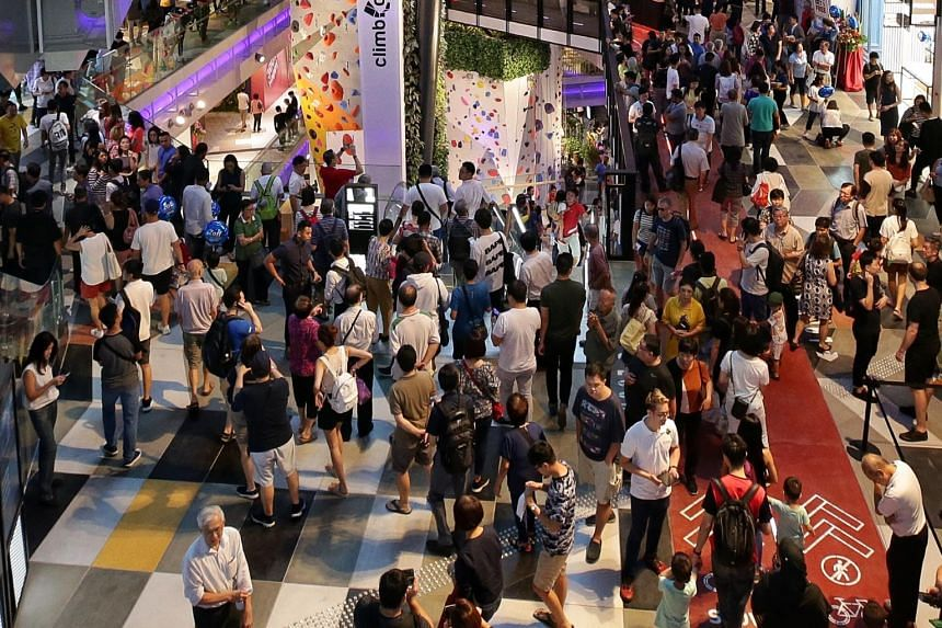 A crowd at Funan mall in City hall in a photo taken on June 28, 2019.