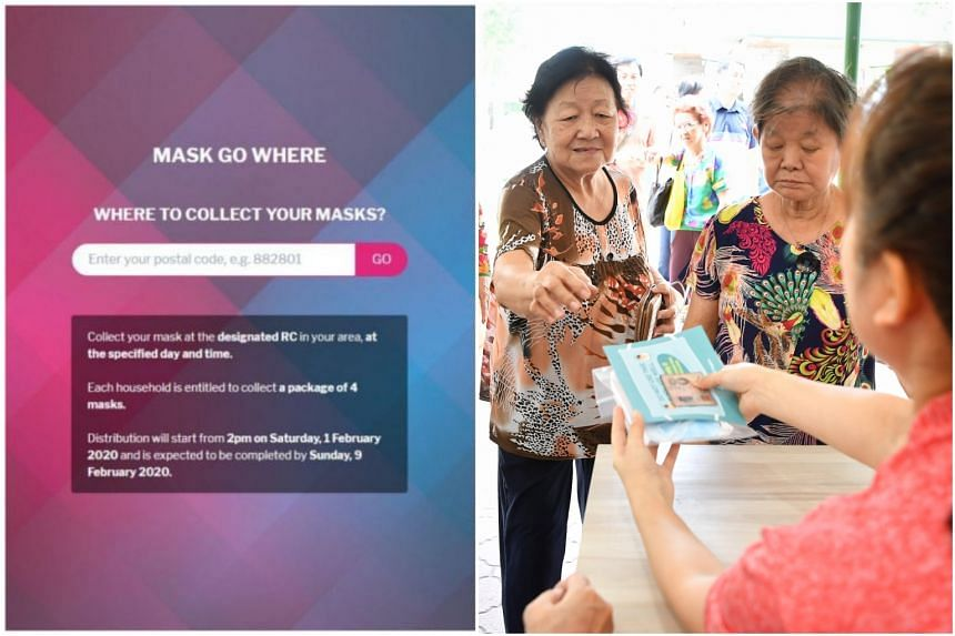 Residents can go to https://maskgowhere.sg/ and enter their postal code to find details for collecting their masks.