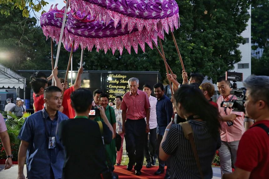 Prime Minister Lee Hsien Loong arriving for the Chinese New Year dinner at his Teck Ghee constituency on Feb 1, 2020.