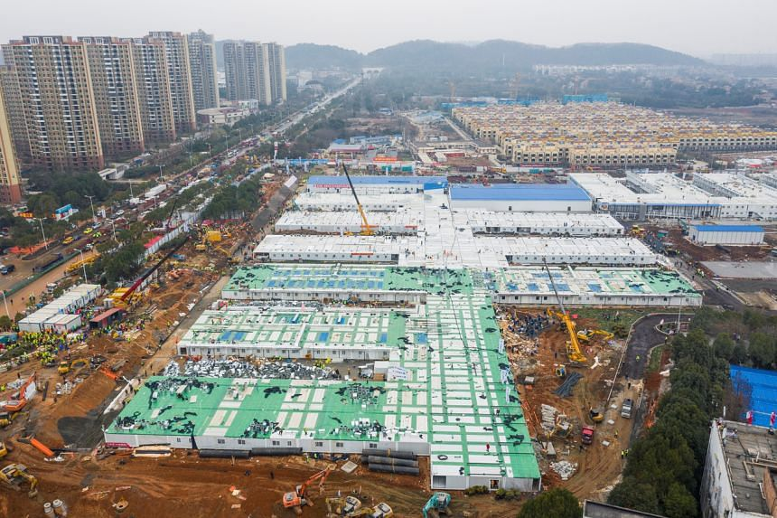 An aerial view of the newly completed Huoshenshan Hospital, a dedicated hospital built in 8 days to treat coronavirus patients, in Wuhan, China, on Feb 2, 2020.