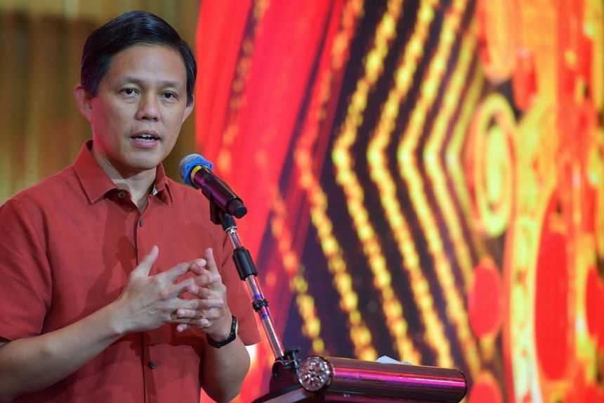 Minister for Trade and Industry Chan Chun Sing gives his annual speech at the Tanjong Pagar GRC and Radin Mas SMC Chinese New Year lunch on Feb 2, 2020.