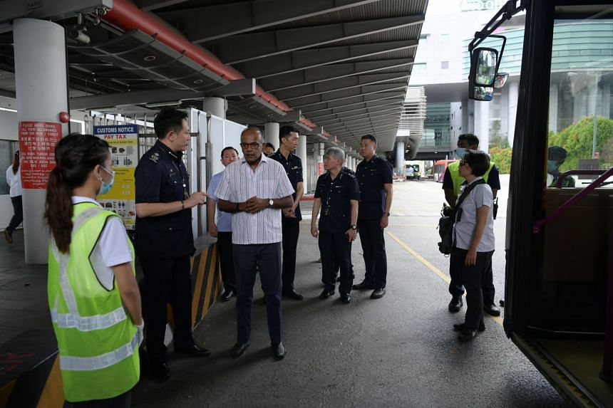 Law Minister K. Shanmugam visiting the Woodlands Checkpoint on Feb 1, 2020.