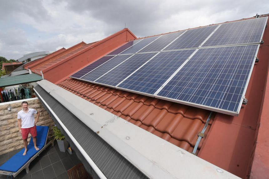 Entrepreneur Andy Schmidt installed solar panels on the entire surface area of his roof in Serangoon Gardens at a cost of $18,000.