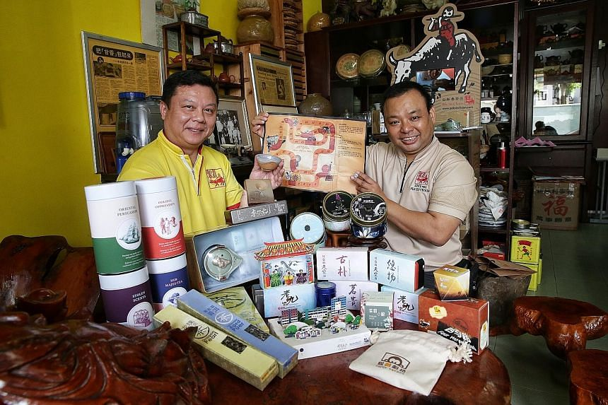 Director of corporate social responsibility Edmond Wong from Kim Choo Kueh Chang says the company donated an estimated $20,000 worth of goods and services, such as edibles, last year to various causes. Pek Sin Choon tea company's fourth-generation ow