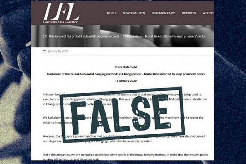 A screengrab from the Gov.sg website stating that the Lawyers for Liberty (LFL) statement is false. LFL was ordered to make a correction under the Protection from Online Falsehoods and Manipulation Act.