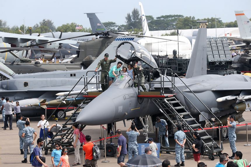 Visitors gawk at more than 40 aircraft from around the world on static display at the Singapore Airshow, on Feb 10, 2018.