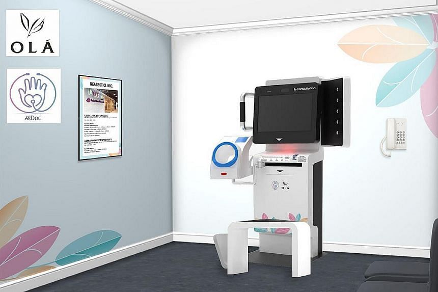 An artist's impression of the telehealth kiosk that will be set up by HiDoc at the upcoming OLA executive condominium in Sengkang.