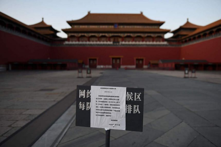 A sign announces the closure of the Forbidden City as part of efforts to prevent the spread of the new coronavirus, in Beijing, on Feb 4, 2020.