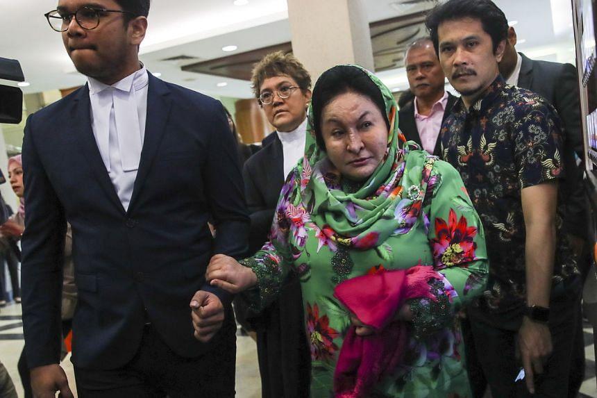 Rosmah Mansor (centre), wife of former prime minister of Malaysia Najib Razak, arrives at the Kuala Lumpur High Court in Kuala Lumpur, on Feb 5, 2020.
