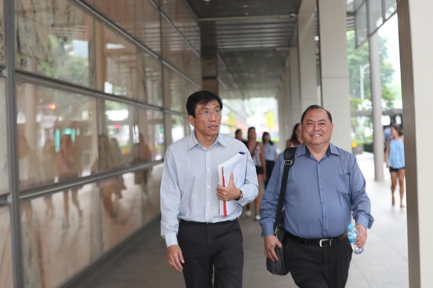 A photo taken on Jan 16, 2020, showing Singapore Democratic Party secretary-general Chee Soon Juan (left) and vice-chairman John Tan leaving the Supreme Court.