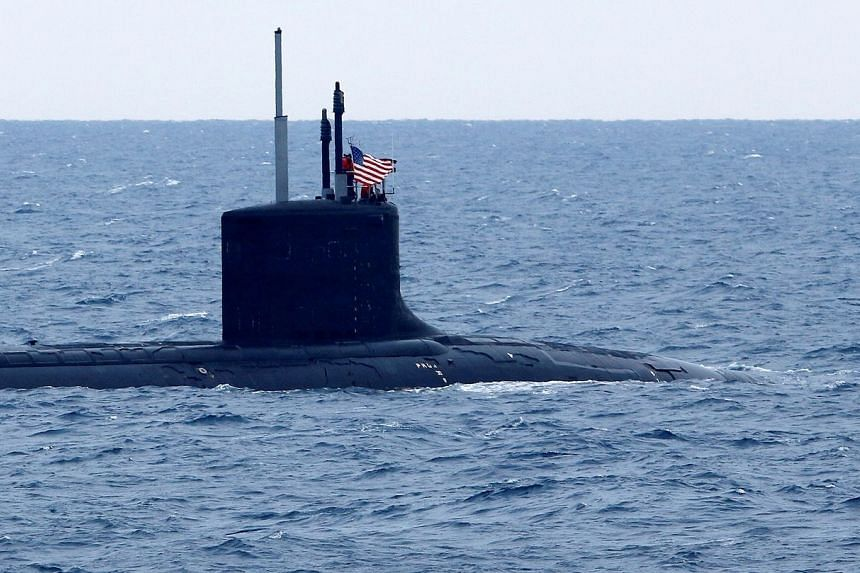 US submarine New Mexico is seen during NATO's Dynamic Manta 2017 anti-submarine warfare exercise in Italy on March 13, 2017.