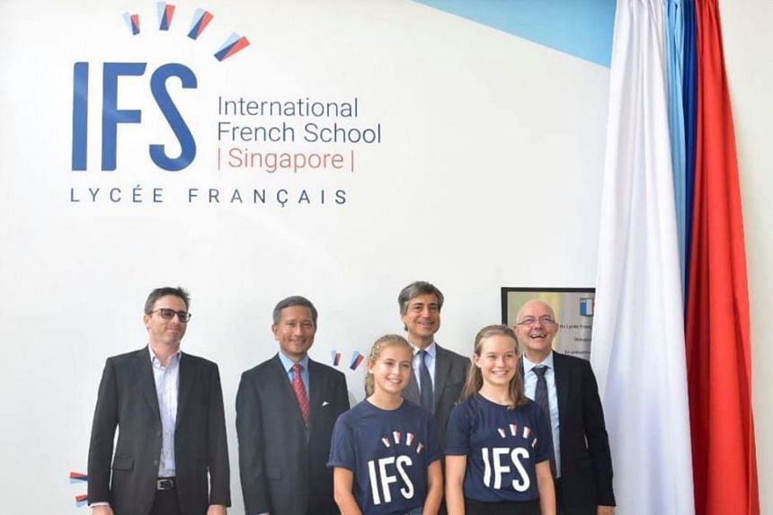 The school officially rebranded itself as the International French School (Singapore) at its campus in Ang Mo Kio on Feb 5, 2020. Foreign Minister Vivian Balakrishnan (second from left) attended the launch ceremony.