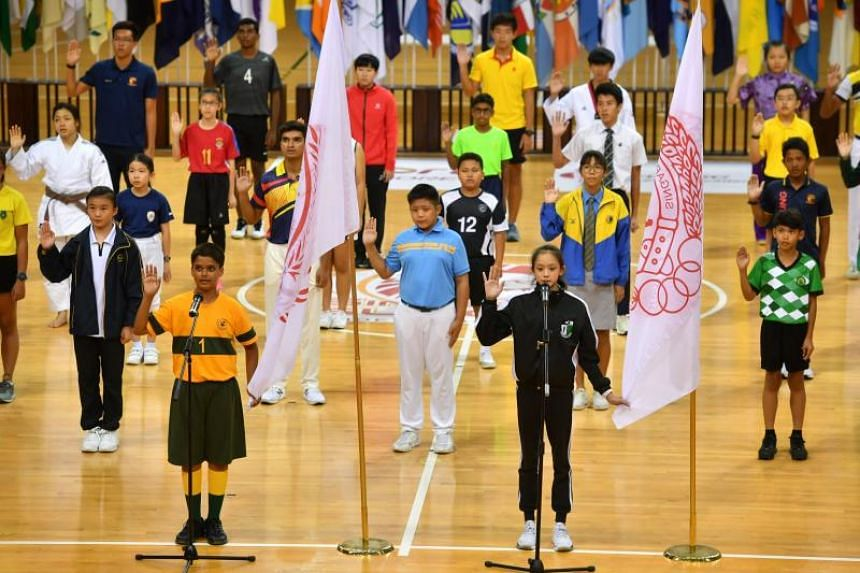 Students-athletes at the National School Games Opening Ceremony on Jan 21, 2020. They will now compete in empty stadiums and halls as spectators will not be allowed at the competition venues.