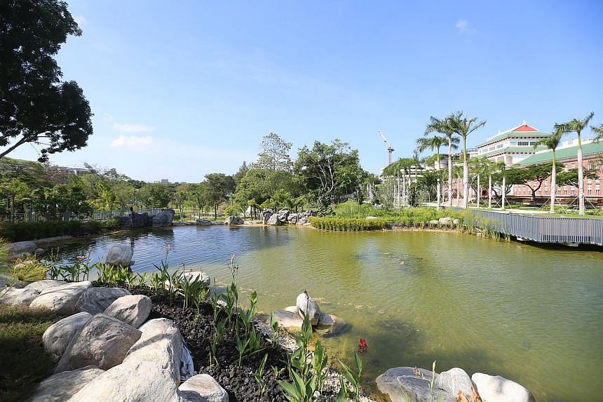 The redeveloped garden includes the Nanyang University Memorial (above) and Nanyang Lake (top).