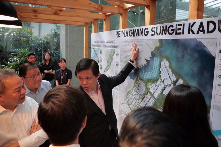 Trade and Industry Minister Chan Chun Sing at the launch of a masterplan exhibition for the rejuvenation of the 500ha Sungei Kadut Eco-District, one of Singapore's oldest industrial estates, on Feb 6, 2020.