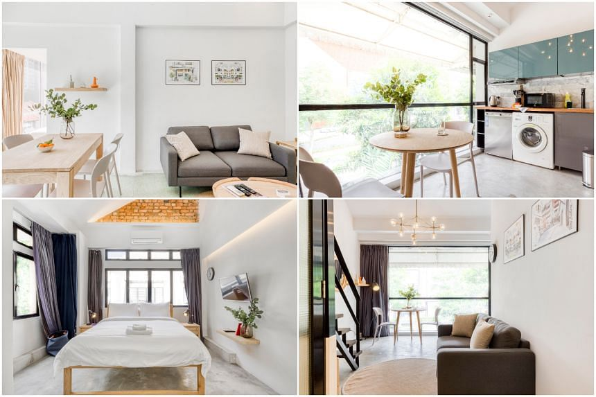 (Clockwise from top-left) Dining room in a Studio, Kitchen in a One-Bedder Loft, Living room in a One-Bedder Loft, Bedroom in a Studio.