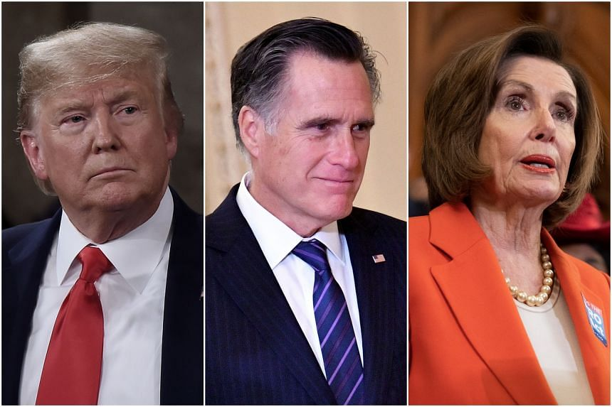 (From left) US President Donald Trump accused Senator Mitt Romney and House Speaker Nancy Pelosi of hypocritically cloaking themselves in their faith, on Feb 6, 2020.