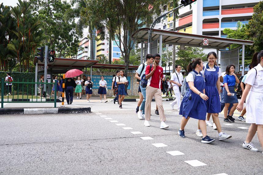 Junior college freshmen leaving Yishun Innova Junior College on Feb 5, 2020.