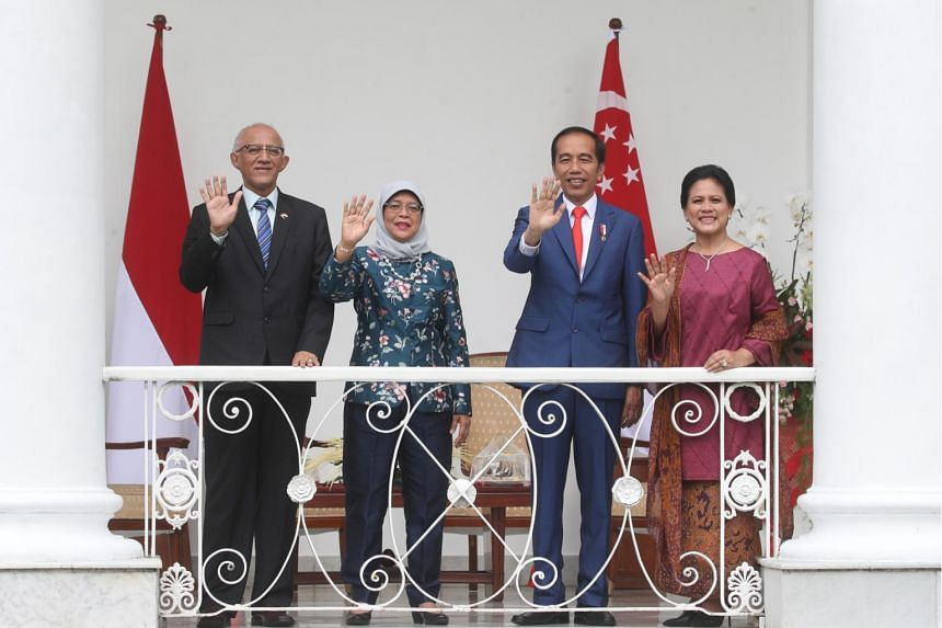 President Halimah Yacob and her husband, Mr Mohamed Abdullah Alhabshee, with Indonesian President Joko Widodo and First Lady Iriana Joko Widodo at the Istana in Bogor, Indonesia, on Feb 4, 2020. Madam Halimah is on a four-day state visit to Indonesia