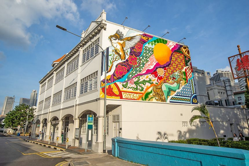 A mural painted by local artist Samantha Lo, which features Chinese symbols such as the qilin, Malay roof eaves and Peranakan tiles, takes pride of place at the outlet's building at 89 Neil Road.