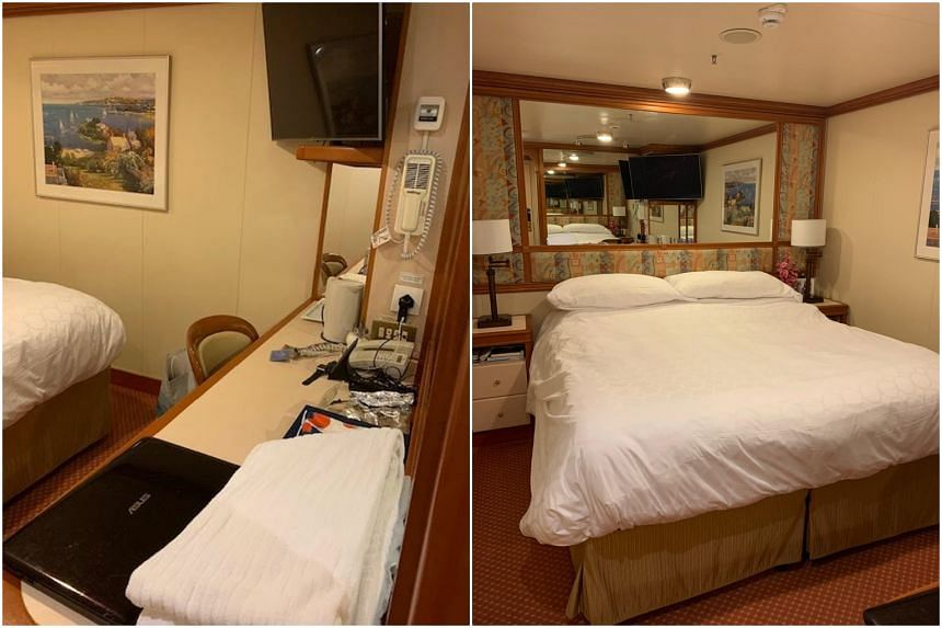 The cabin on the Diamond Princess cruise ship where British couple Elaine and John Spencer have been staying for the last month. They embarked in Singapore on Jan 6 and were meant to disembark in Yokohama on Feb 4.