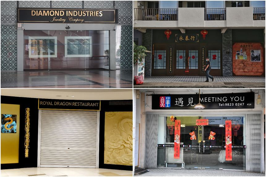 (Clockwise from top left) Diamond Industries Jewellery Company, Yong Thai Hang, Royal Dragon Restaurant and Meeting You Restaurant were among the places visited by the Chinese tour group.