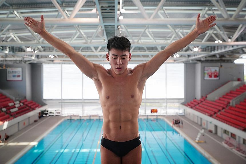 Jonanthan Chan, an undergraduate at the Singapore University of Technology and Design in Changi, trains at the Singapore Sports Hub five times a week. He will train full-time for the Tokyo Olympics from May. ST PHOTO: JASON QUAH