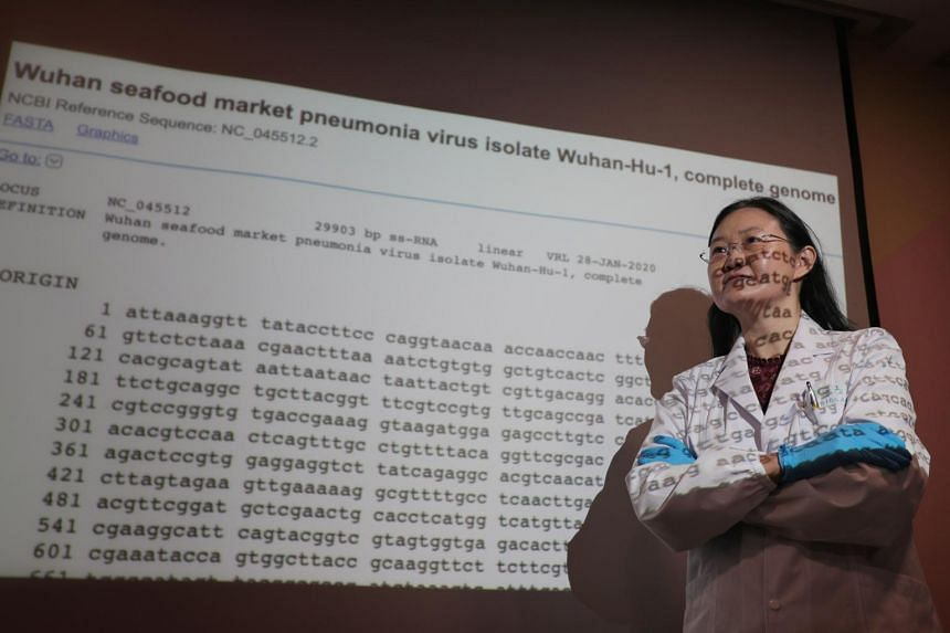 Dr Ong Siew Hwa, director and chief scientist at Acumen Research Laboratories, poses for a photo in front of a projection of the genome of the coronavirus on Feb 5, 2020.