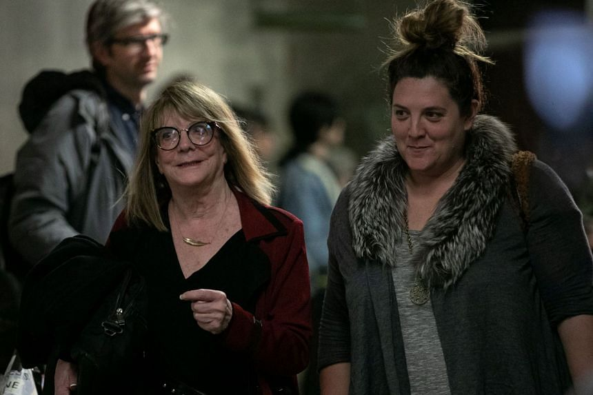 Psychologist Elizabeth Loftus (left) leaves court after giving evidence at producer Harvey Weinstein's sexual assault trial.