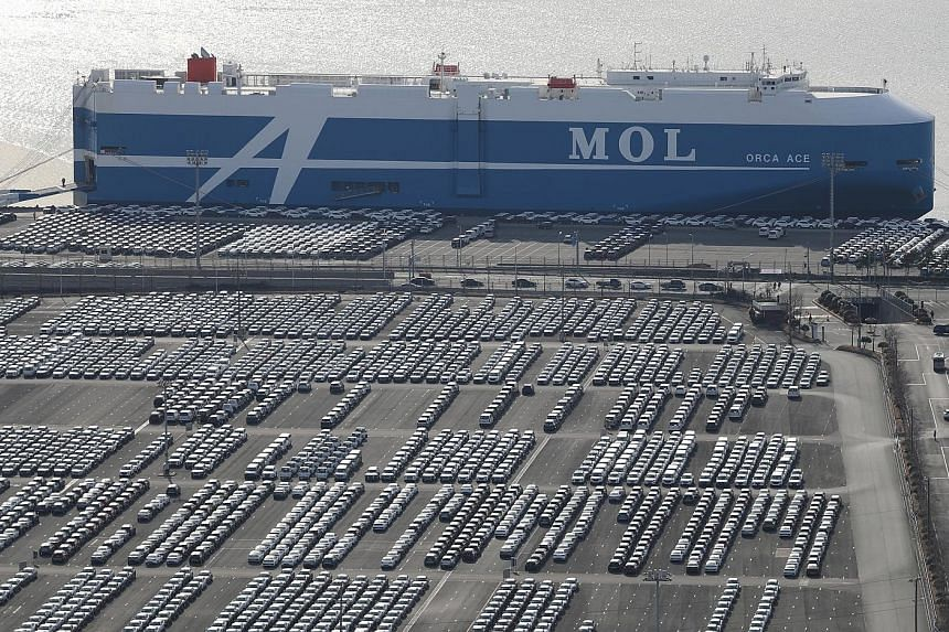 Rows of Hyundai Motor cars parked for shipping in the South Korean port of Ulsan. Hyundai suspended operations at its Ulsan complex because the novel coronavirus outbreak crippled China's industrial output of auto parts needed to produce cars.