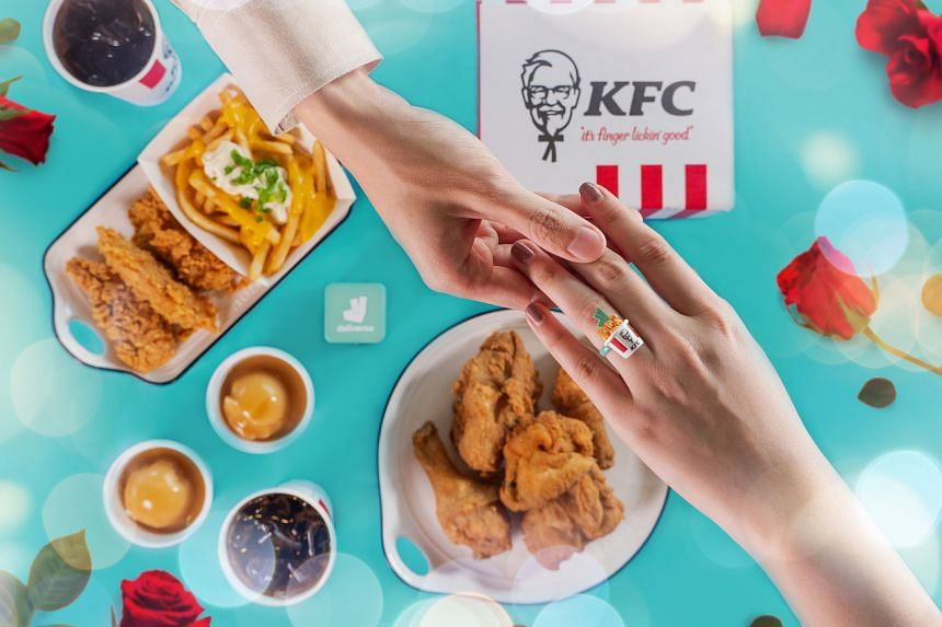 """Pop the question in a novel way with KFC's """"I Do"""" combo ($28.25)."""