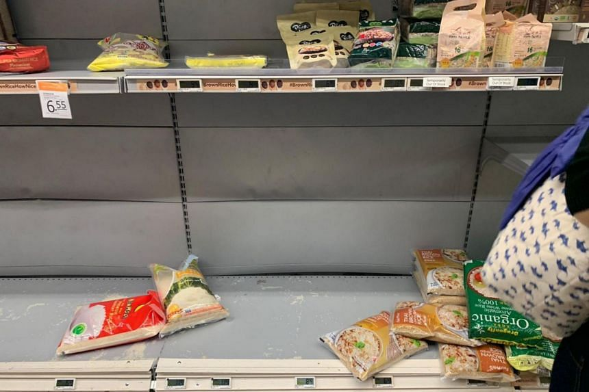Empty shelves at the Fairprice Finest outlet at Junction 8 on Feb 7, 2020.