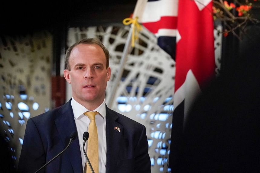 British Foreign Secretary Dominic Raab during a press conference in Tokyo on Feb 8, 2020. Mr Raab is on a four-nation Asian tour.