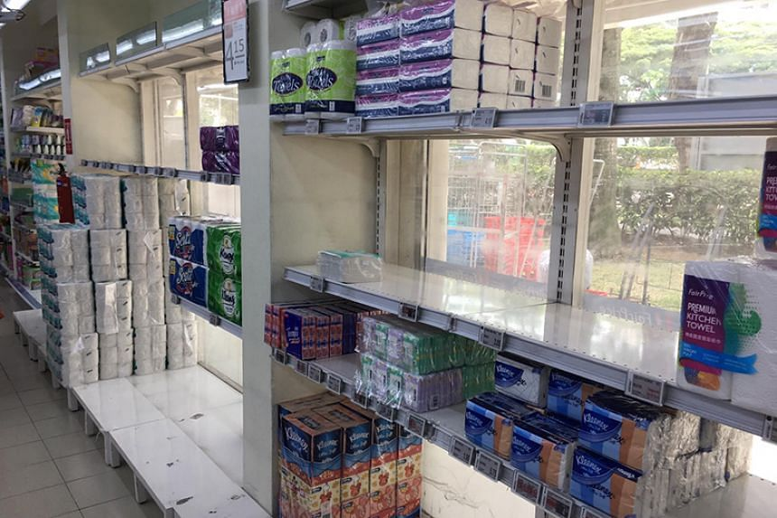 Shelves of toilet paper rolls and tissue paper at the FairPrice outlet in Beo Crescent on Feb 8, 2020.